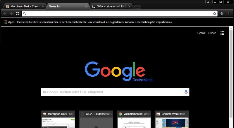 dark theme for Google Chrome